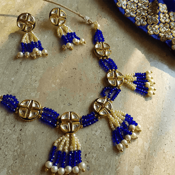 Blue Crystal Pearls & Kundan Necklace Set