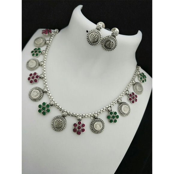 Silver Polish Enamel Coin Necklace