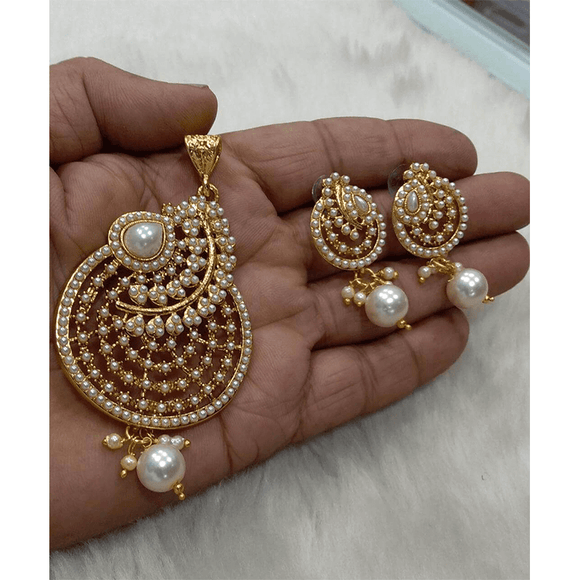 Pearl Pendant Set With Earrings
