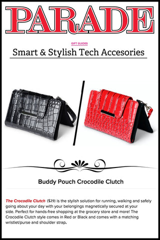 Buddy Pouch Crocodile Clutch in Parade Magazine