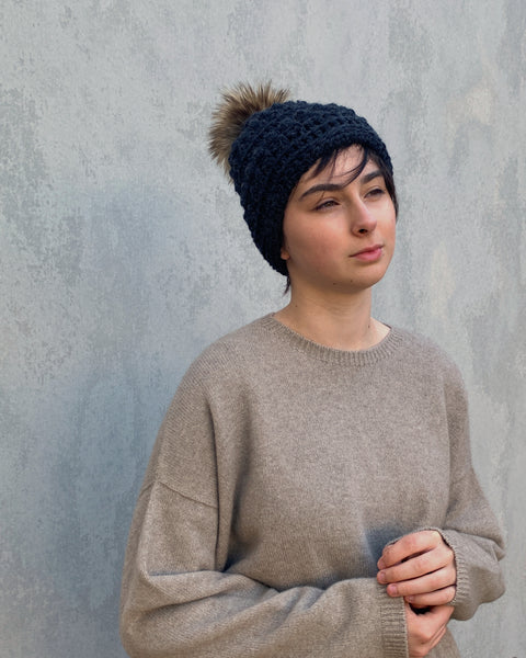 shyhooks : graphite beanie with natural pompom