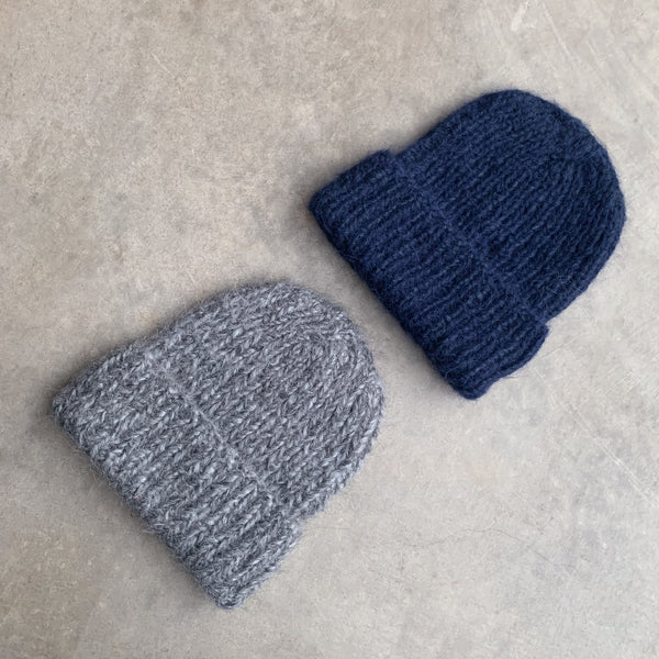 karakoram : silk alpaca beanie with cuff in indigo