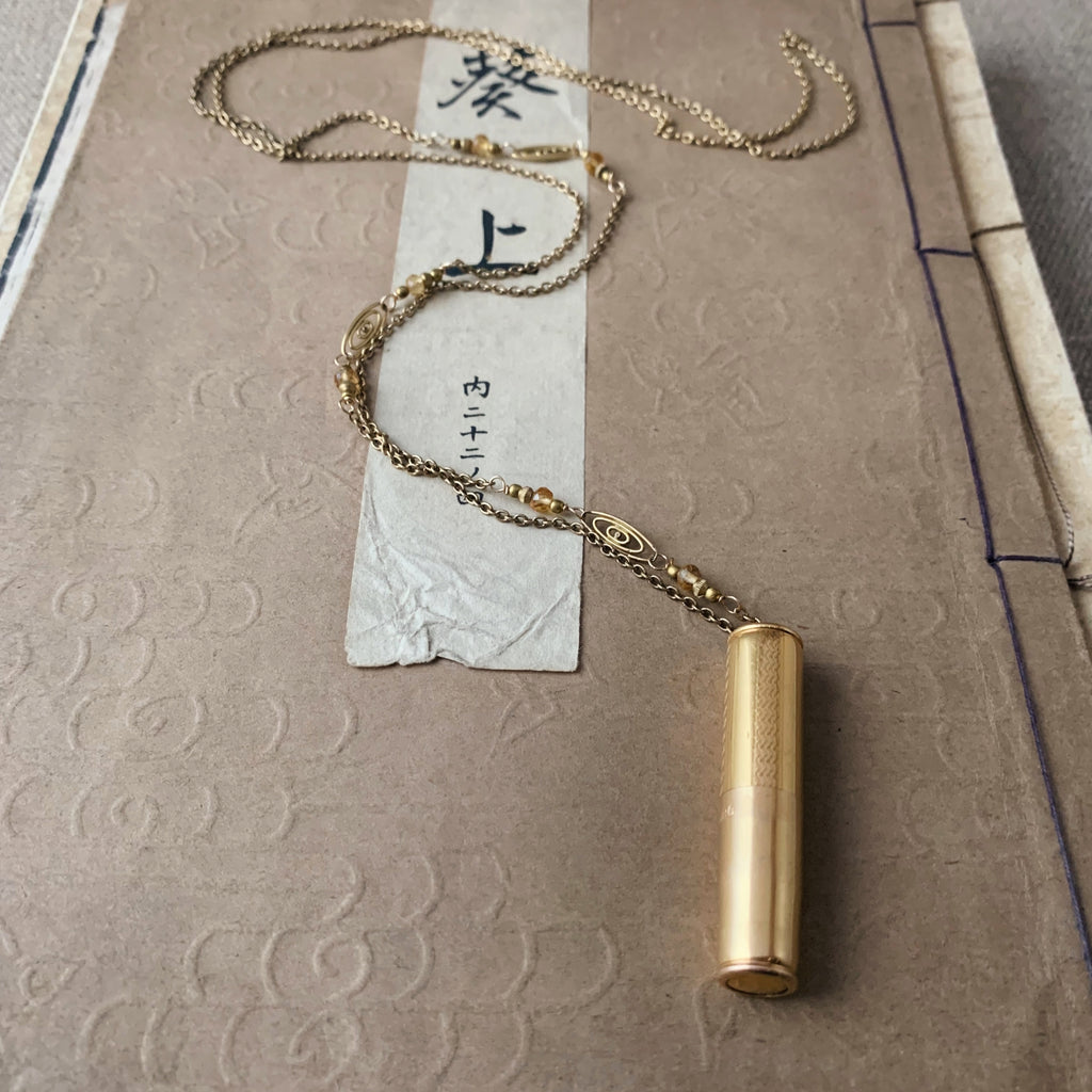 tabito : brass necklace with brass case pendant