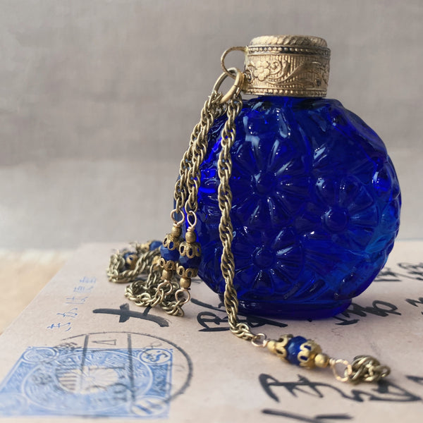tabito : brass necklace with with perfume flask pendant