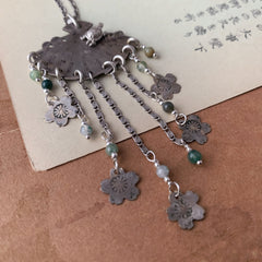 tabito : silver necklace with vintage kanzashi pendant