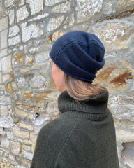 cashmerism : rolled edge slouch beanie in moonlit blue