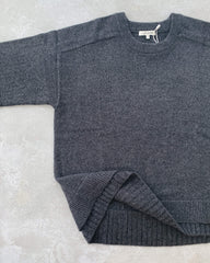 cashmerism : double hem pullover in charcoal