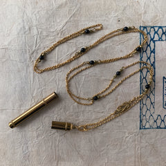 tabito : brass necklace with brass compass lead case pendant