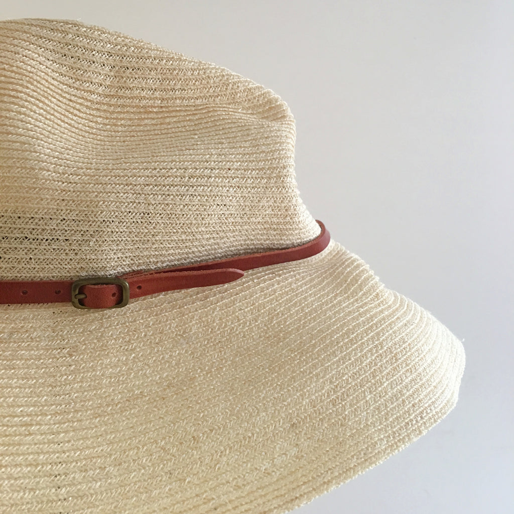 mature hats : boxed hat leather trim