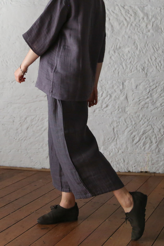 ban inoue : caya smock with long sleeves in flint