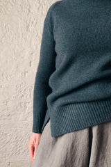 cashmerism : chunky mock neck pullover in atlantic