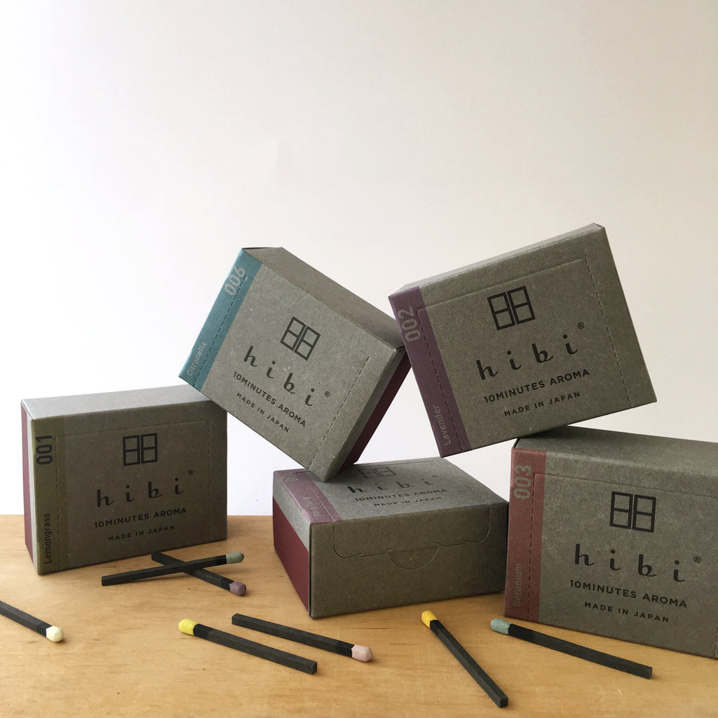 Japanese incense, Awaji incense, Hibi, 10 minute incense, Kobe match, Hibi Australia, Hibi Melbourne, Japanese designer homewares, the maker hibi, citronella hibi, 10 minute aromas, match incense