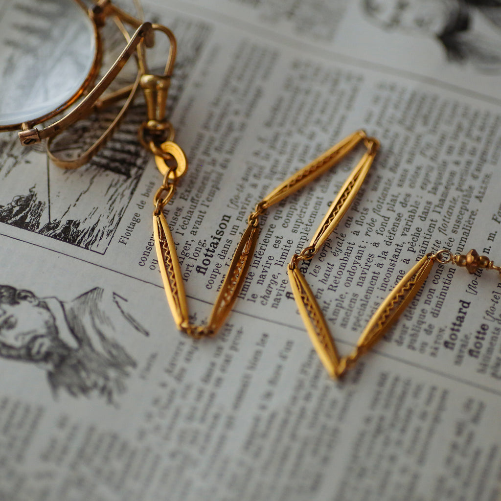 tabito : brass lorgnon necklace