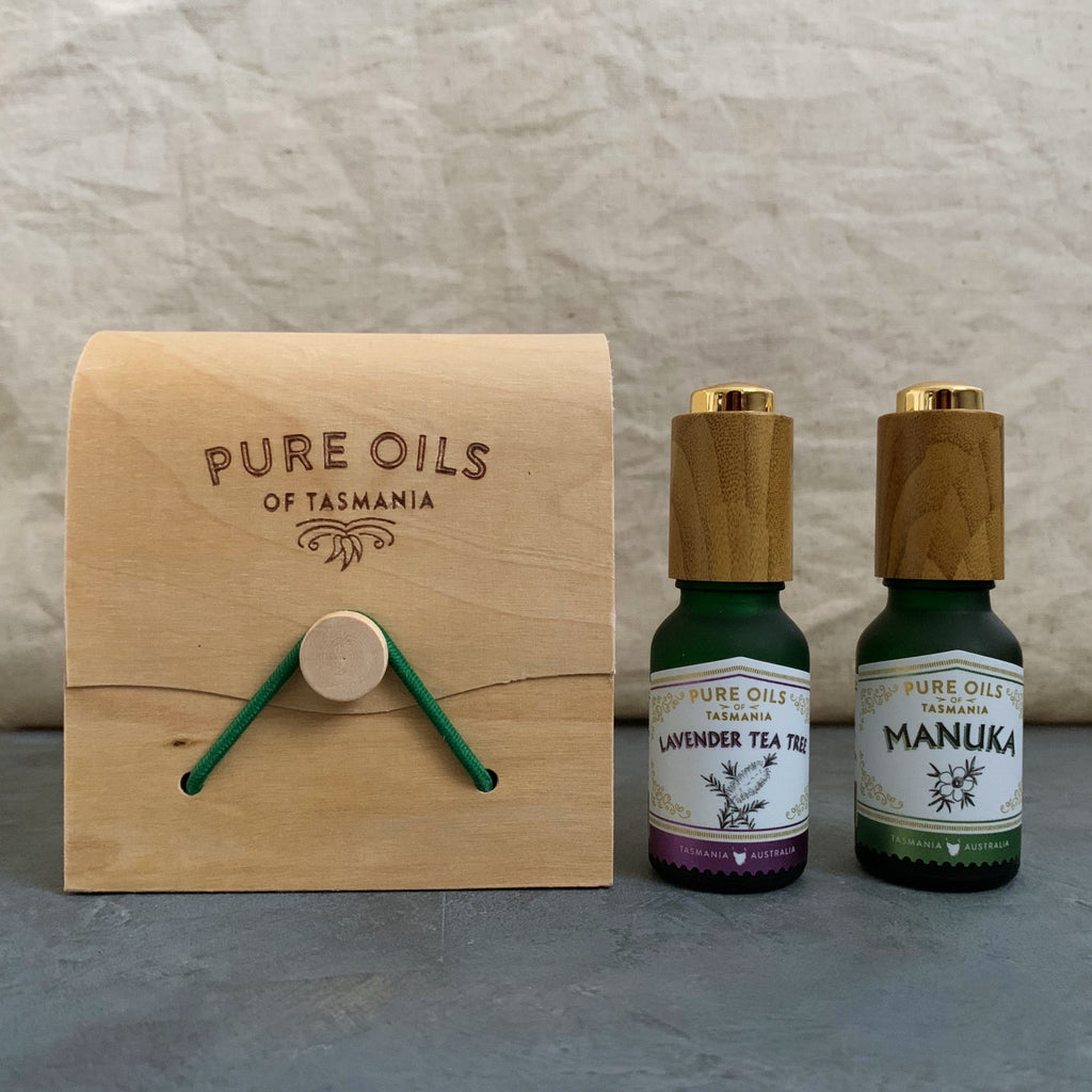 pure oils of tasmania : double oil set lavender tea tree and manuka