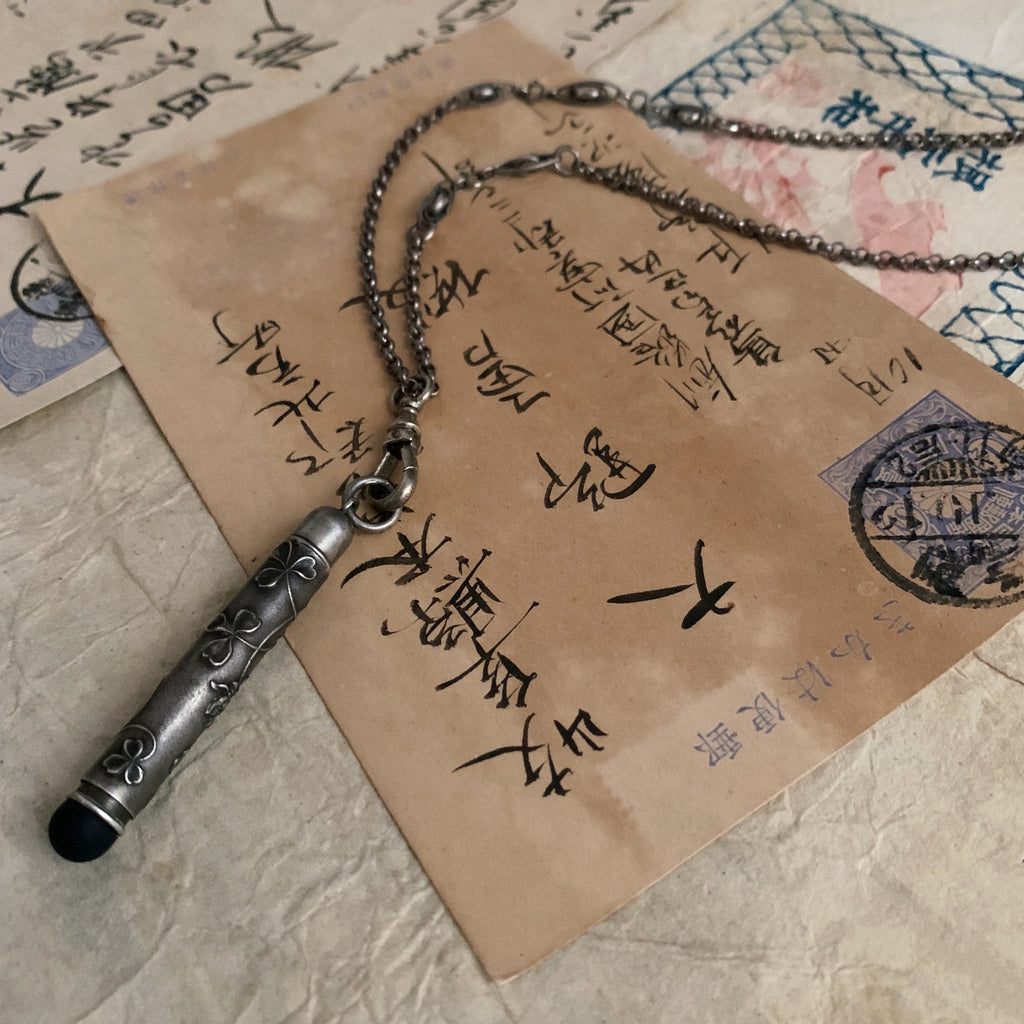 tabito : silver necklace with vintage ball pen pendant