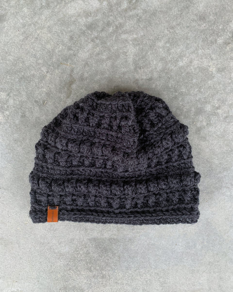 shyhooks : graphite beanie with carbon pompom