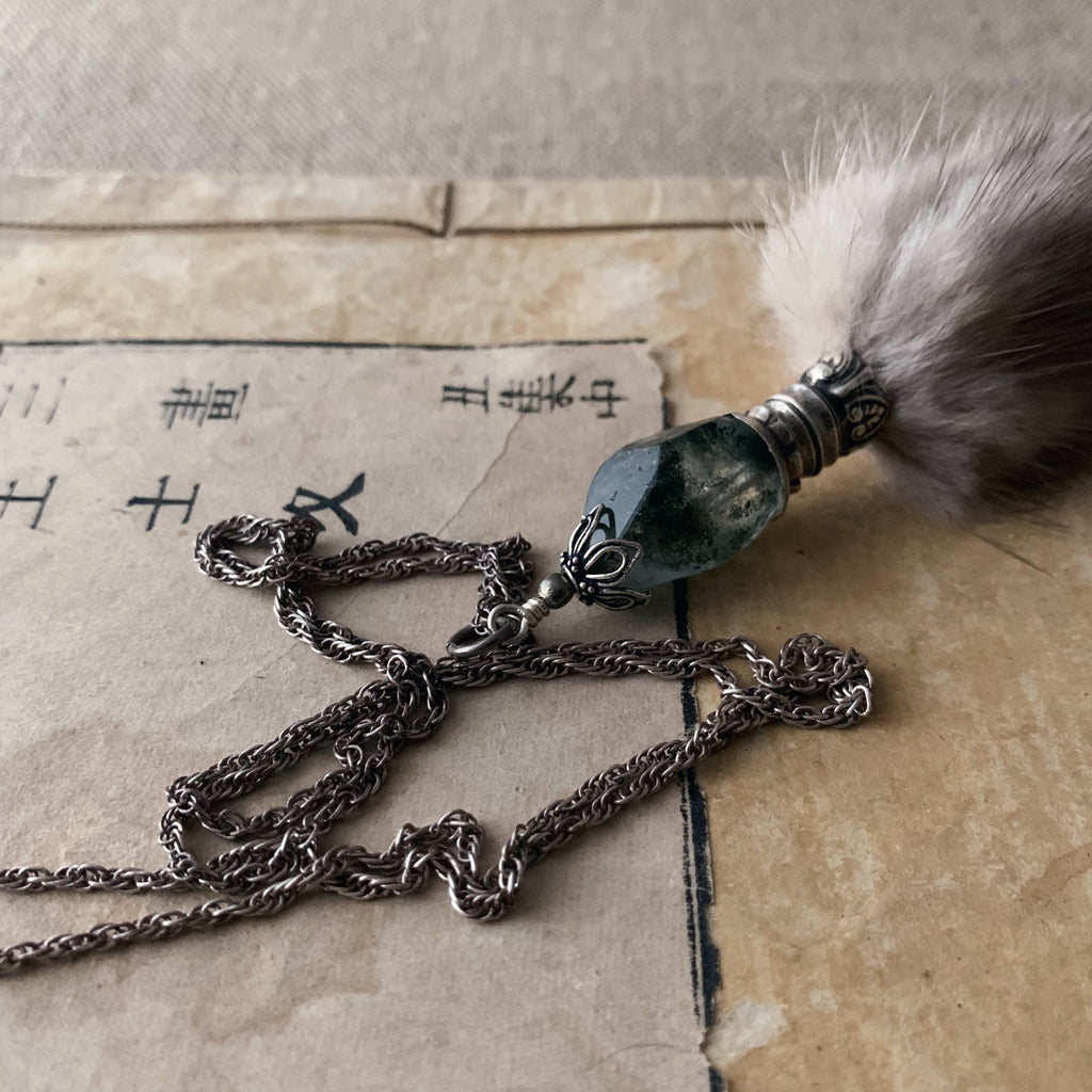 tabito : silver necklace with ermine fur and silver cutlery pieced pendant