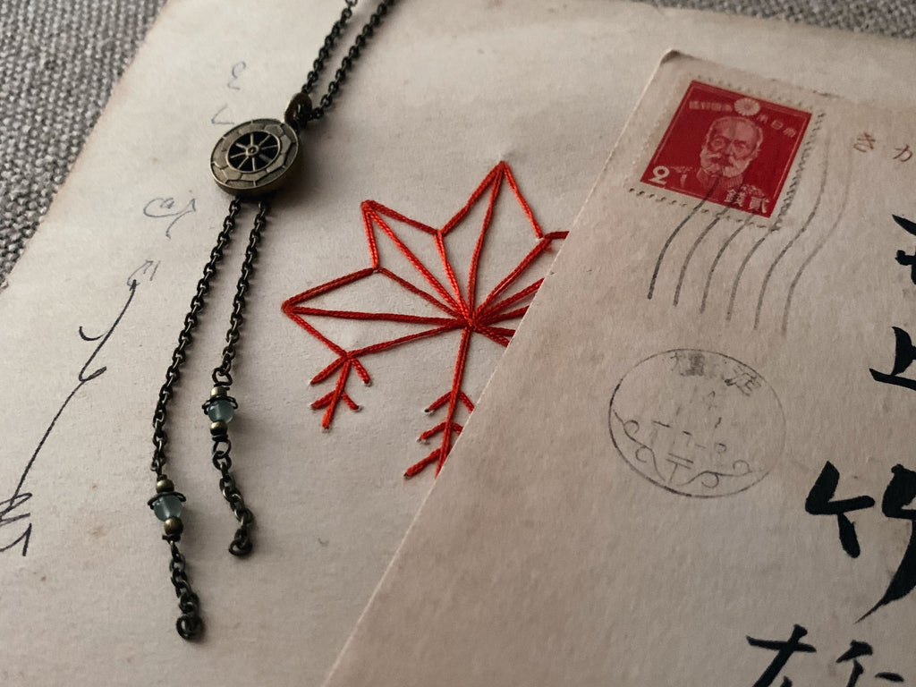 tabito : brass necklace with vintage kanzashi pendant