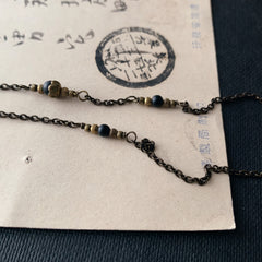 tabito : brass necklace with vintage hibashi pendant
