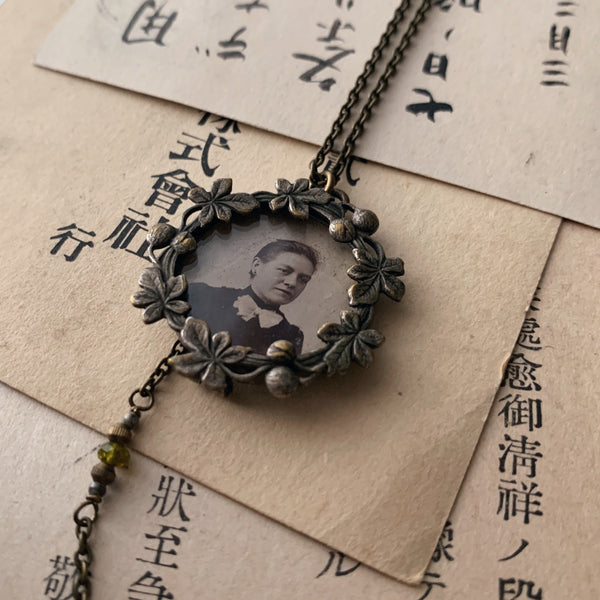 tabito : brass necklace with antique picture frame pendant