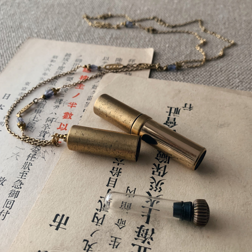 tabito : brass necklace with vintage lipstick case pendant