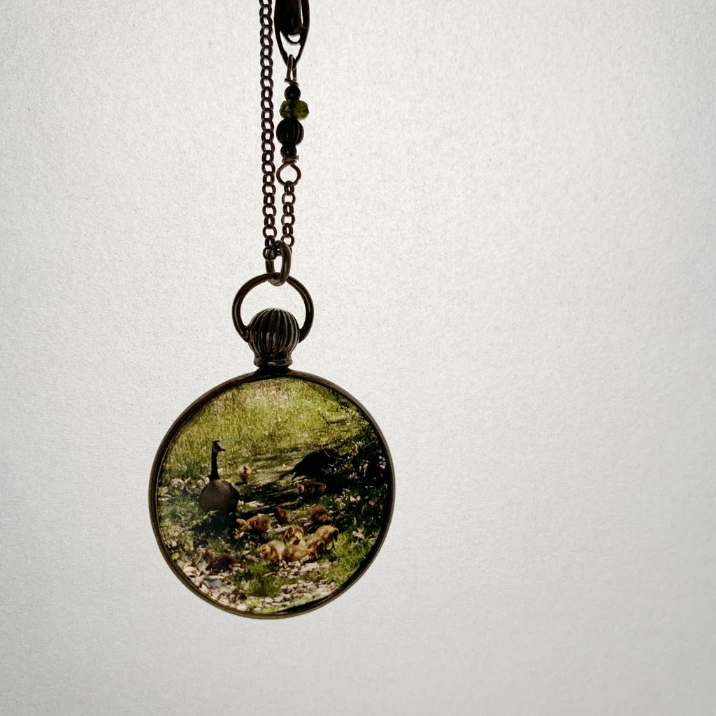 tabito : silver necklace with antique silver picture case pendant