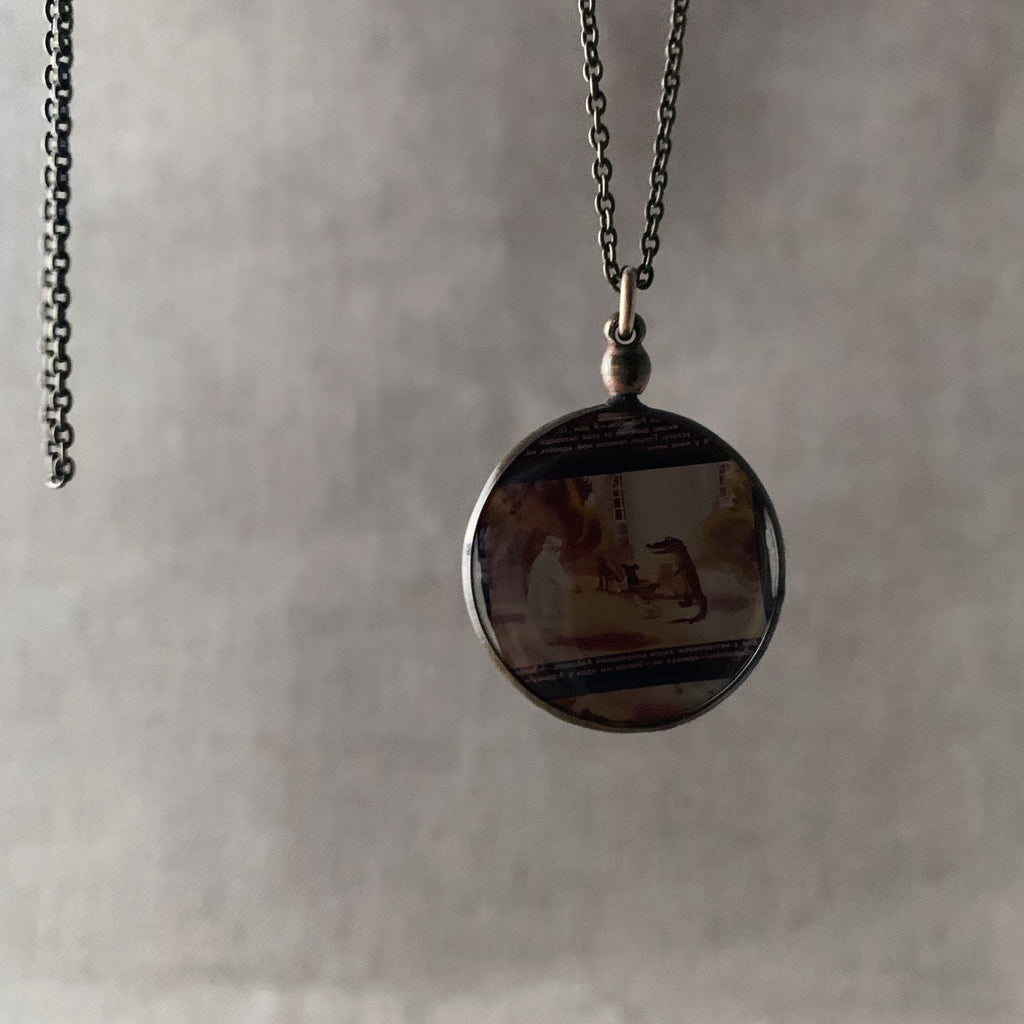 tabito : brass neckalce with vintage picture frame pendant