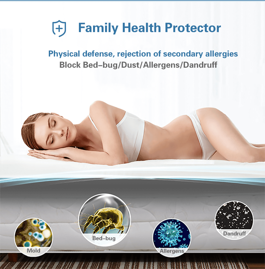 purple waterproof mattress protector to block all accidental liquids from entering the mattress