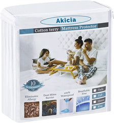 Akicia Queen Size Waterproof Mattress Protector - Breathable Noiseless and Hypoallergenic - Premium Fitted Cotton Terry Cover