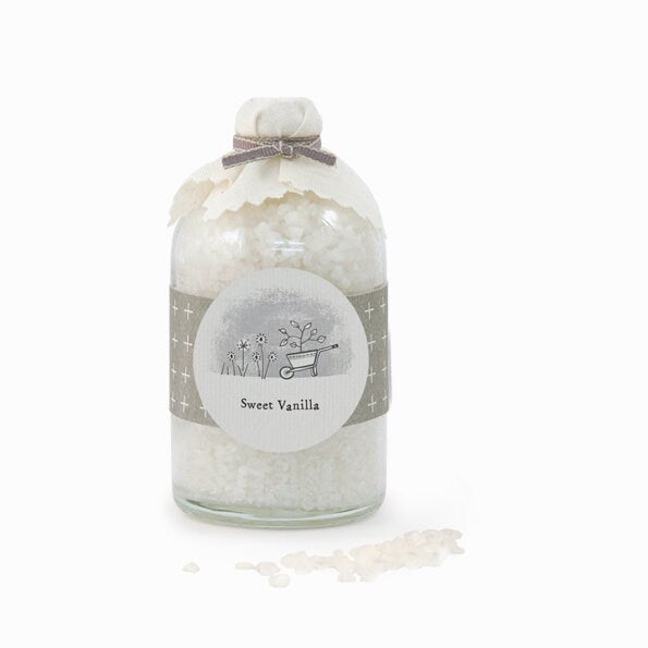 East Of India: Corked Jar Of Bath Salts - Sweet Vanilla
