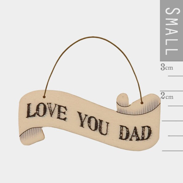 East Of India: Small Ribbon Word Hanger - Love You Dad