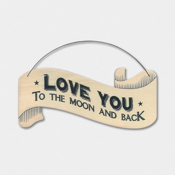 East Of India: Large Ribbon Word Hanger - Love You To The Moon