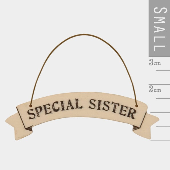 East Of India: Small Ribbon Word Hanger - Special Sister