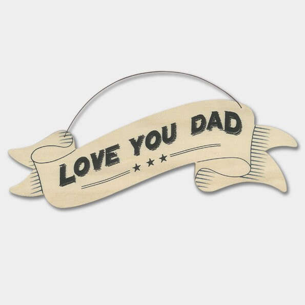East Of India: Large Ribbon Word Hanger - Love You Dad