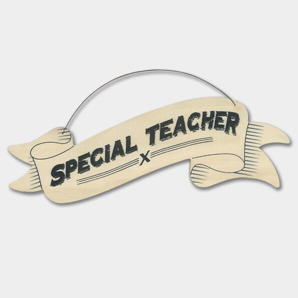 East Of India: Large Ribbon Word Hanger - Special Teacher