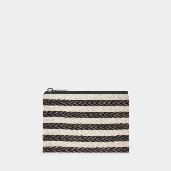 East Of India: Purse - Thick Black Stripes