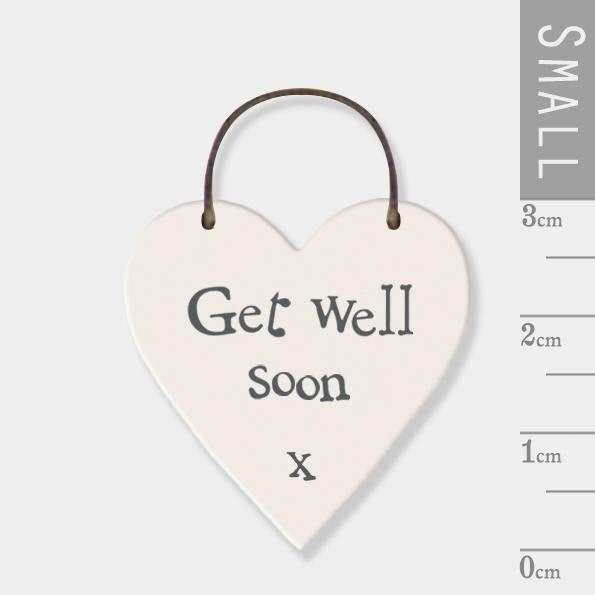 East Of India: Mini wooden heart on wire hanger - Get Well Soon