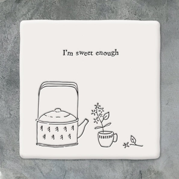 East Of India: Porcelain Coaster - I'm Sweet enough