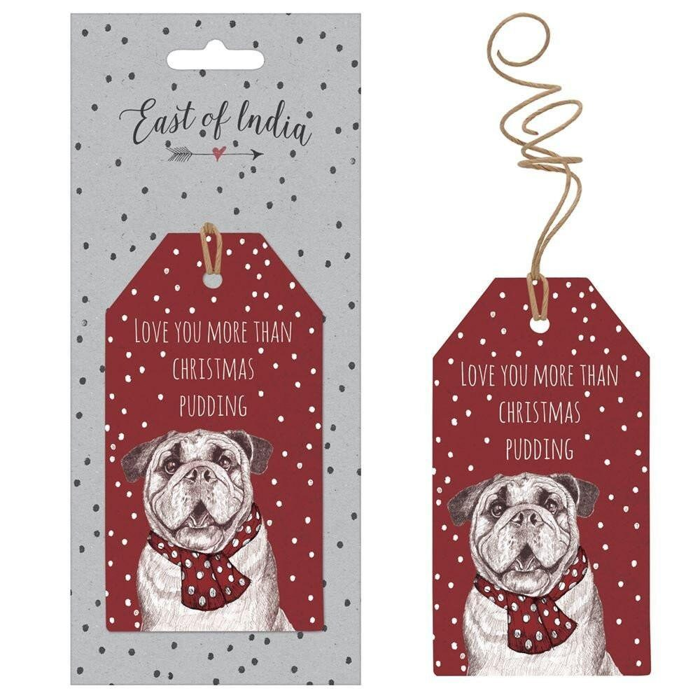 East Of India: Set of 6 Gift Tags - Christmas Bulldog