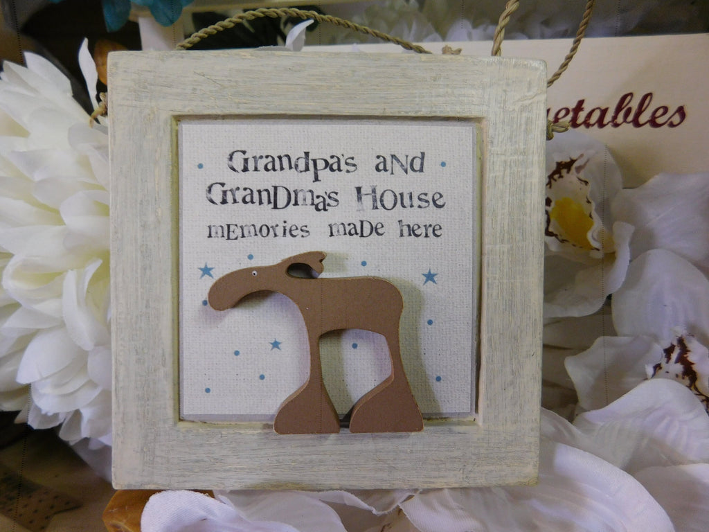 East Of India: Square Wooden Plaque - Grandpa's & Grandma's