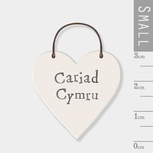 East Of India: Mini wooden heart on wire hanger - Cariad Cymru