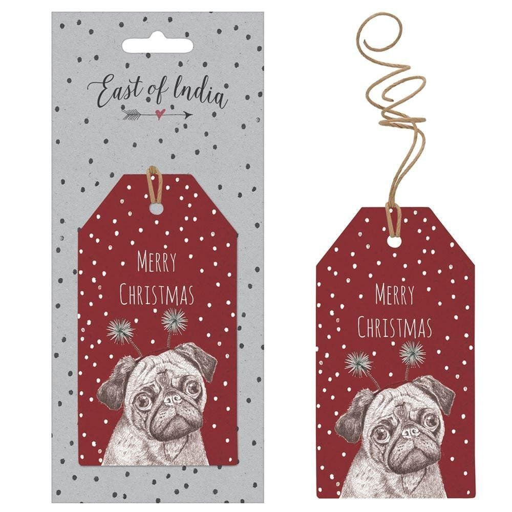 East Of India: Set of 6 Gift Tags - Merry Christmas Pug