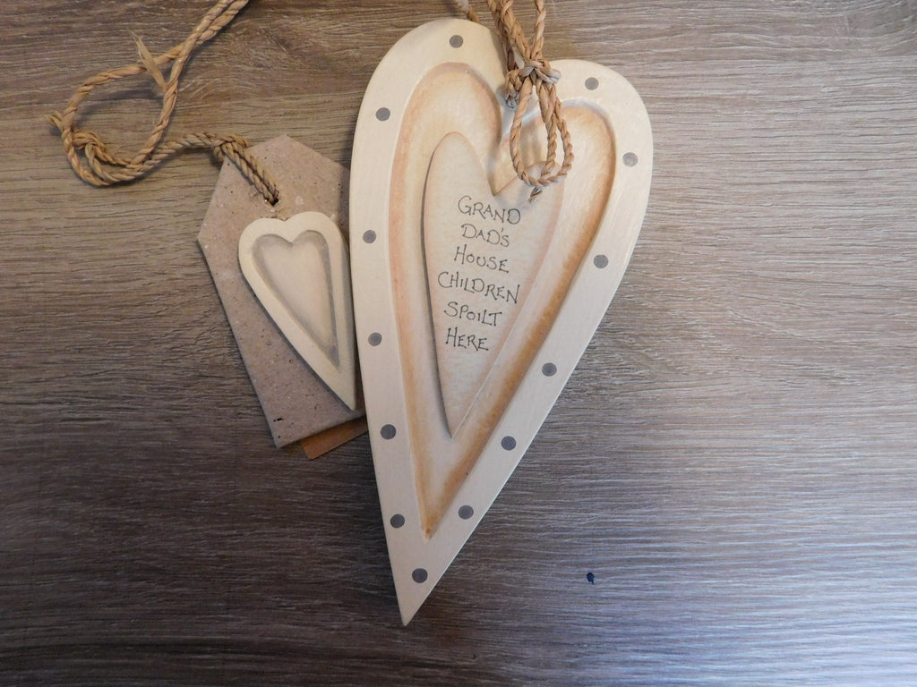 East Of India: Cream Hanging Wooden Heart - Grandad's House