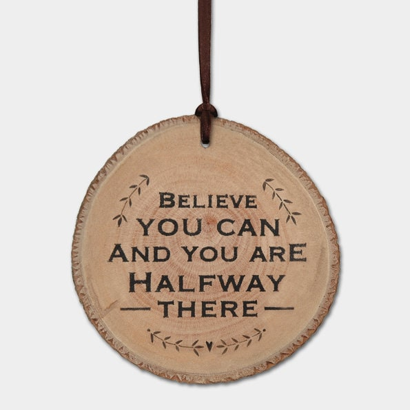 East Of India: Round Woodland Plaque - Believe You Can