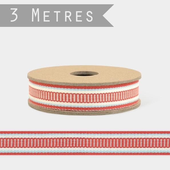East Of India: 3m Ribbon Spool - Ladder Stitch - Red