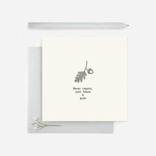 East Of India: Square Greetings Card - Never Regret