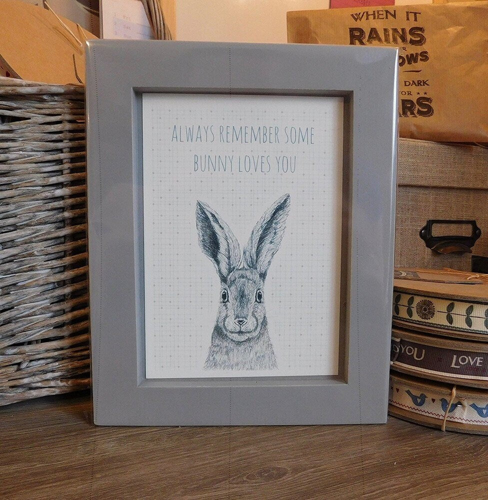East of India: A6 Framed Print - Some Bunny Loves You