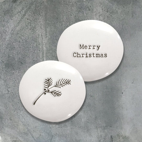 East Of India: Sentimental Porcelain Pebble - Christmas Berries
