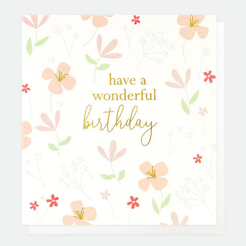 Caroline Gardner - Wonderful Birthday Floral - Greetings Card