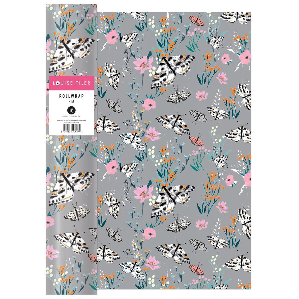 Louise Tiler - Grey Floral Wrapping Paper - 3m Roll